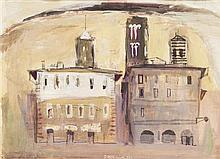 § DAVID MCCLURE R.S.A., R.S.W. (SCOTTISH 1926-1998) ITALIAN BUILDINGS 28cm x 38cm (11in x 15in)
