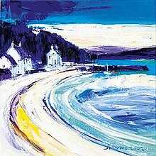 § JOHN LOWRIE MORRISON O.B.E. (SCOTTISH B.1948) EVENING 2002 - RAIN PASSING OTTER FERRY 40cm x 40cm (15.75in x 15.75in)