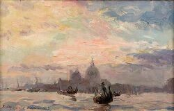 JAMES MCBEY (1883-1959) SEPTEMBER SUNSET, VENICE 25.5cm x 40cm (10in x 16in)