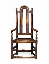 WILLIAM & MARY YEW AND FRUITWOOD ARMCHAIR 17TH CENTURY 60cm wide, 120cm high, 42cm deep