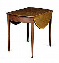 GEORGE III MAHOGANY AND SATINWOOD CROSSBANDED PEMBROKE TABLE LATE 18TH CENTURY 89cm long, 72cm high, 111cm wide