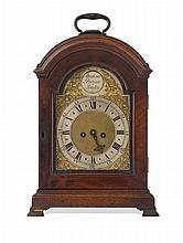 GEORGE III MAHOGANY CASED BRACKET CLOCK BY ABRAHAM PERINOT, LONDON LATE 18TH CENTURY 21cm wide, 29cm high, 13cm deep
