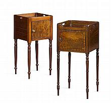 TWO REGENCY MAHOGANY NIGHT CUPBOARDS EARLY 19TH CENTURY one 36cm wide, 79cm high, 36cm deep; the other 36cm wide, 77cm high, 36cm de...
