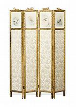 VICTORIAN GILTWOOD AND PAINTED FOUR FOLD SCREEN LATE 19TH CENTURY 122cm wide, 170cm high