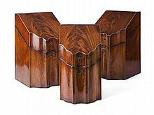 GROUP OF THREE GEORGE III MAHOGANY SERPENTINE KNIFE BOXES LATE 18TH CENTURY