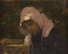 THOMAS AUSTEN BROWN (BRITISH 1859-1924) THE MILKMAID 19cm x 24.5cm (7.5in x 9.75in)