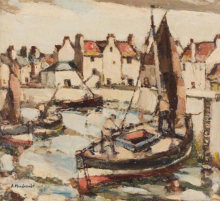 ARTHUR MACDONALD (SCOTTISH 20TH CENTURY) HARBOUR SCENE, FIFE 44.5cm x 49.5cm (17.5in x 19.5in)