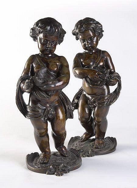 Louis Charles Hippolyte Buhot French School (1815-1865) A pair of bronze cupids 47cm high, plinths 20cm deep