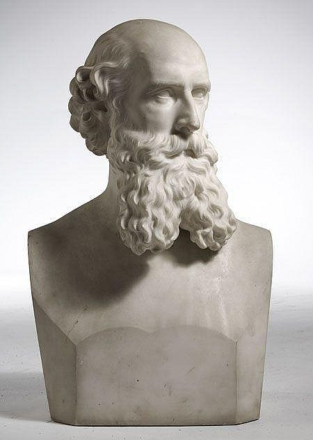 HIRAM POWERS (AMERICAN NEOCLASSICAL SCULPTOR 1805 -1873) A WHITE MARBLE BUST OF W.H. CASSELLS 39cm wide, 61cm high, 26cm deep
