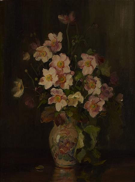 KATE WYLIE (SCOTTISH 1877-1941) A STILL LIFE OF ANENOMES 61cm x 46cm (24in x 18in)
