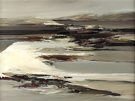 § ETHEL WALKER (SCOTTISH B.1941) BEACH AT CUNA 91cm x 122cm (36in x 48in)