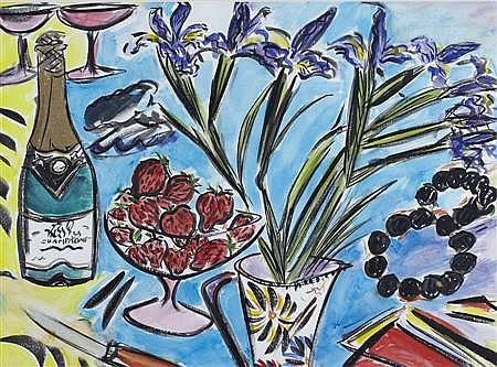 § FIONNA CARLISLE (SCOTTISH B.1954) CHAMPAGNE AND STRAWBERRIES 54cm x 74cm (21.25in x 29in)