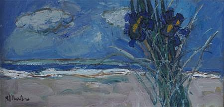 § DONALD MANSON (SCOTTISH B.1948) IRISES BY THE SEA 30.5cm x 61cm (12in x 24in)