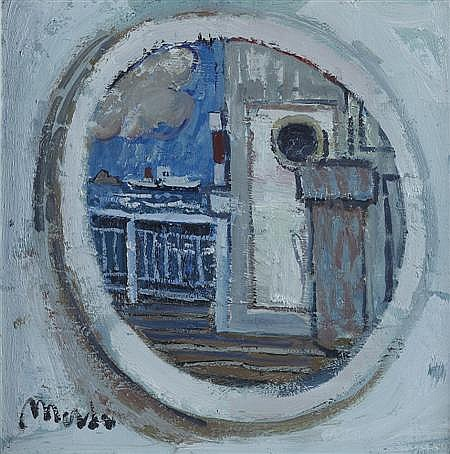 § DONALD MANSON (SCOTTISH B.1948) PORT-HOLE 30.5cm x 30.5cm (12in x 12in)