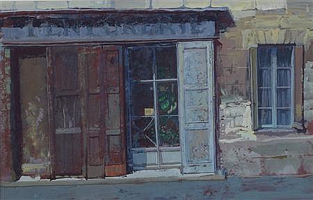 WILLIAM BIRNIE R.S.W (SCOTTISH 1929-2007) SHUTTERED SHOP, PROVENCE 48cm x 76cm (19in x 30in)