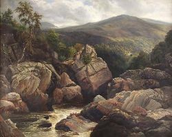 WILLIAM BEATTIE BROWN R.S.A (1831-1909) THE SOLDIERS LEAP, KILLIECRANKIE 101cm x 127cm (39.75in x 50in)