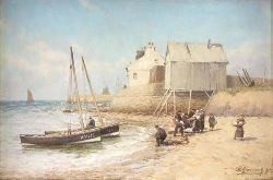 ALEXANDER YOUNG (1865-1923) LANDING THE CATCH IN THE EAST NEUK 30cm x 45cm (12in x 17.75in)