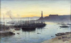 JOHN MACWHIRTER R.A., H.R.S.A., R.I., R.E. (1839 -1911) GENOA HARBOUR AT SUNSET 46.5cm x 75cm (18.5in x 29.5in)