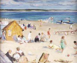 JOHN MACLAUCHLAN MILNE R.S.A. (1886-1957) BEACH SCENE, SOUTH OF FRANCE 38.5cm x 46cm (15.25in x 18in)