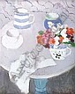 ANNE REDPATH O.B.E., R.S.A., A.R.A., L.L.D., A.R.W.S. R.O.I., R.B.A. (1895-1965) STILL LIFE WITH ROUND TABLE 60cm x 46cm (23.5cm x 1..., Anne Redpath, Click for value