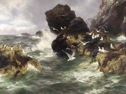 PETER GRAHAM R.A. H.R.S.A. (1839-1921) OCEANS SURGE, WHITE AS THE SEA-BIRDS WING 136cm x 183cm (53.5in x 72in)
