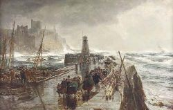 SAM BOUGH R.S.A. (1822-1878) PEEL HARBOUR 75cm x 122cm (29.5in x 48in)