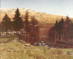 GEORGE HOUSTON R.S.A., R.S.W., R.I (1869-1947) A HIGHLAND FARMSTEAD 102cm x 157cm (44in x 61.75in)