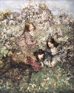 EDWARD ATKINSON HORNEL (1864-1933) EASTER EGGS 153cm x 122cm (60in x 48in)