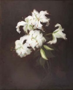 STUART PARK (1862-1933) STILL LIFE OF WHITE LILIES 60cm x 50cm (23.5in x 19.5in)