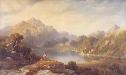 GEORGE FENNEL ROBSON (1788-1833) THE HIGHLAND BARD - LOCH KATRINE 76cm x 122cm (30in x 48in)