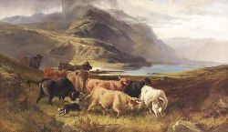 JOSEPH ADAM (FL1858-1916) AND JOSEPH DENOVAN ADAM R.S.A., R.S.W. (1842-1896) DROVING HIGHLAND CATTLE BY A LOCHSIDE 86cm x 46cm (34in...