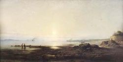 JAMES CASSIE R.S.A., R.S.W. (1819-1879) FIRTH OF FORTH FROM THE RIVER ALMOND 38cm x 75cm (15in x 29.5in)