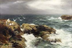 PETER GRAHAM R.A., H.R.S.A (1836-1921) SEA-GIRT CRAGS 61cm x 91cm (24in x 36in)