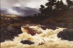 PETER GRAHAM R.A., H.R.S.A. (1836-1921) A SPATE IN THE HIGHLANDS 82cm x 122cm (32.25in x 48in)