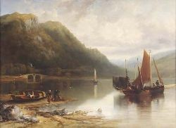 EDMUND THORNTON CRAWFORD R.S.A (1806-1885) FISHING BOATS, LOCH FYNE 75cm x 107cm (29.5in x 42in)