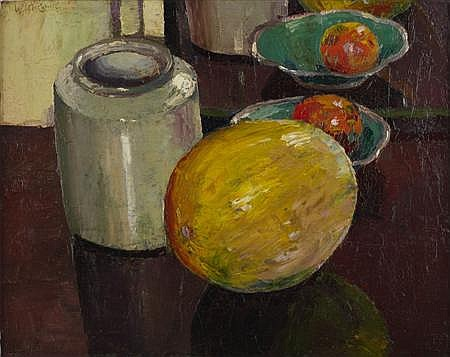 WILLIAM MCCANCE (SCOTTISH 1894-1970) STILL LIFE WITH MELON 41cm x 51cm (16in x 20in)