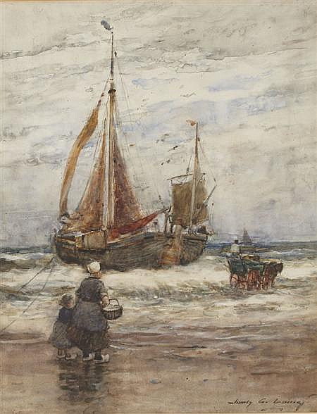 JAMES GARDEN LAING R.S.W (SCOTTISH 1852-1918) A STORMY LANDING, HOLLAND 51cm x 38cm (20in x 15in)