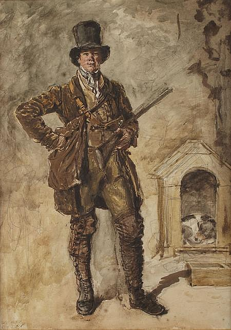 WILLIAM HENRY HUNT O.W.S (BRITISH 1790-1864) THE GAMEKEEPER 43cm x 30cm (17in x 12in)