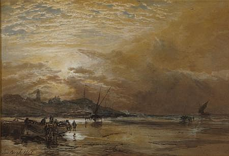 SAM BOUGH R.S.A (SCOTTISH 1822-1878) ST. ANDREWS 36cm x 51cm (14in x 20in)