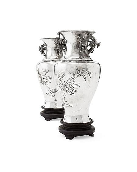 * PAIR OF CHINESE EXPORT SILVER VASES EARLY 20TH CENTURY 15cm high