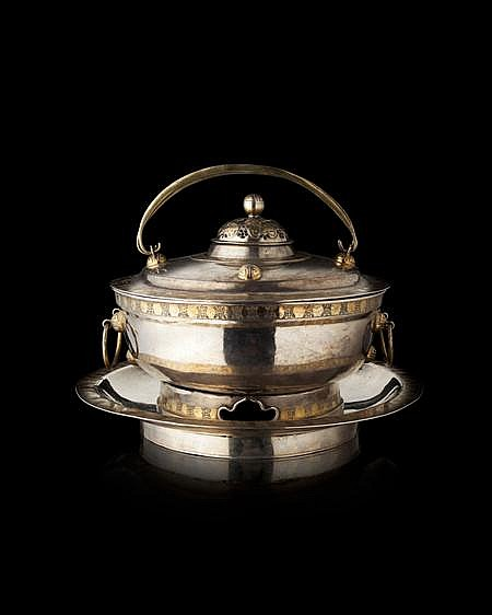 RARE CHINESE SILVER AND PARCEL GILT BOWL AND COVER WITH BURNER AND STAND LATE 18TH / EARLY 19TH CENTURY Bowl 20cm diam, stand 27.5cm...