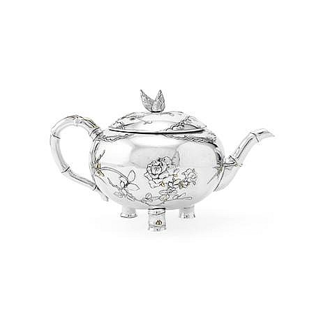 JAPANESE MIXED METAL TEAPOT 12cm high, 14.5oz