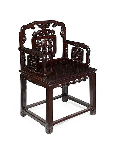 PAIR OF CHINESE CARVED HARDWOOD ARMCHAIRS LATE QING DYNASTY 62cm wide, 98cm high