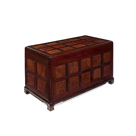 CHINESE HARDWOOD AND BURR WOOD PANEL CHEST 20TH CENTURY 100cm wide, 58cm high, 53cm deep
