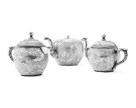 CHINESE THREE PIECE PLATED PEWTER TEA SET KUT HING, SWATOW Teapot 12cm high