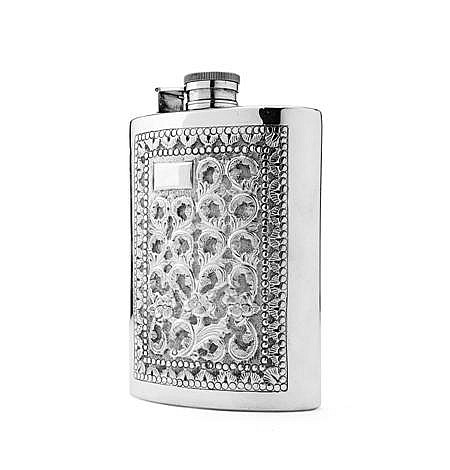 INDIAN WHITE METAL HIP FLASK SECOND QUARTER 20TH CENTURY 13.5cm high, 6.5oz