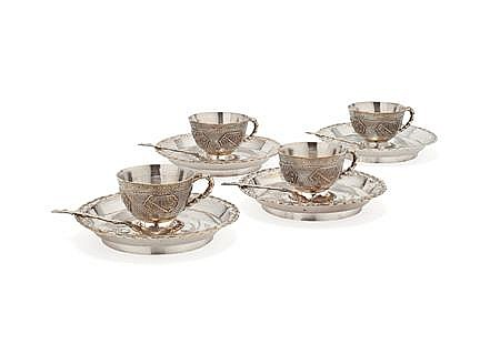 FOUR CHINESE EXPORT SILVER CUPS, SAUCERS AND SPOONS Saucer, 12cm diam, Cup, 4cm high; Total 20.5oz