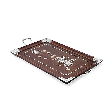 CHINESE SILVER INLAY AND ROSEWOOD TRAY LATE QING DYNASTY 55cm wide