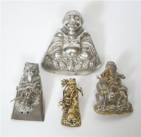 FOUR CHINESE SILVER HAT ORNAMENTS 19TH / EARLY 20TH CENTURY Largest 6.5cm high