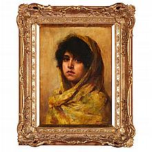 § JOHN MILNE PURVIS (SCOTTISH 1885-1961) PORTRAIT OF A LADY IN A SHAWL 34cm x 25cm (13.25in x 9.75in)